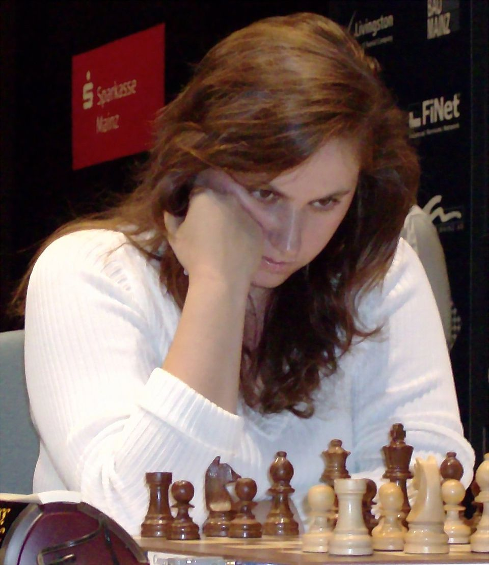 Judit Polgar concentrating on her chess game