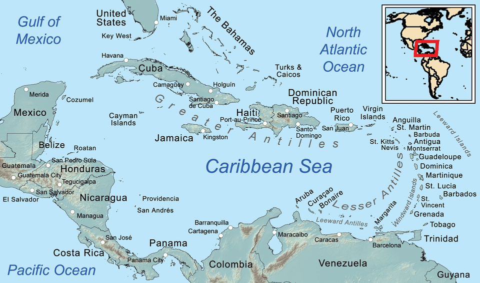 Comprehensive map of the caribbean sea and islands map of the caribbean sciox Image collections