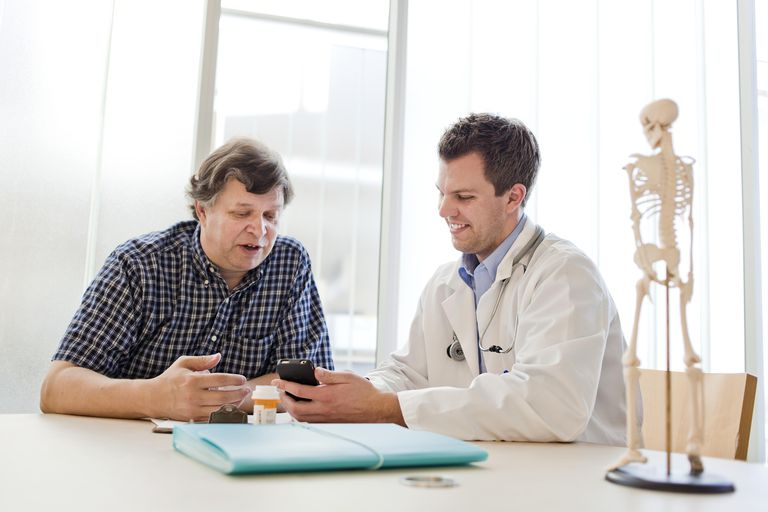 A doctor and patient working together.