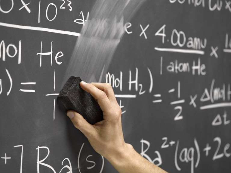 Photo of someone erasing equations written on a chaulkboard