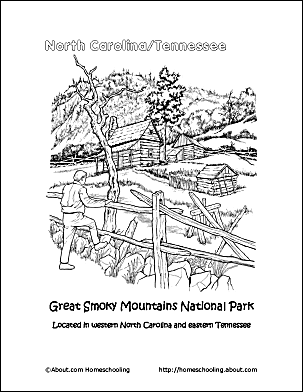 north carolina coloring page great smoky mountains