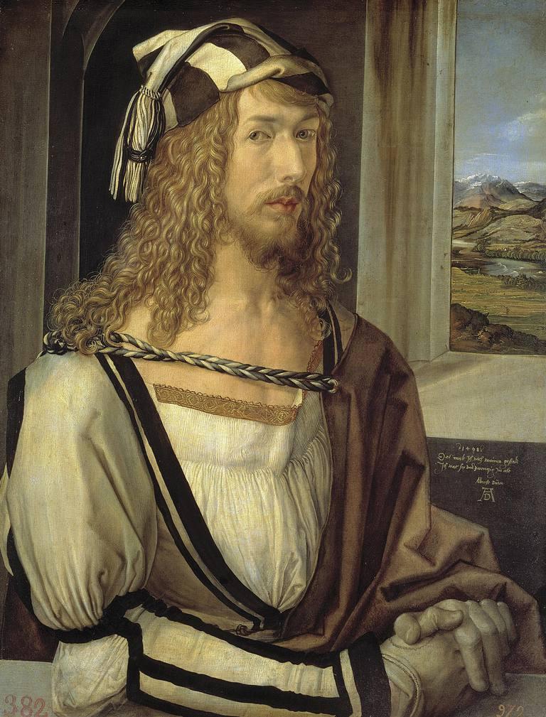 Selfportrait by Albrecht Durer, oil on wood, 1498