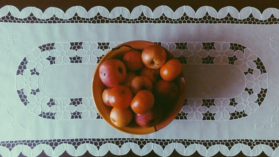 Directly Above Shot Of Fruit Bowl On Table