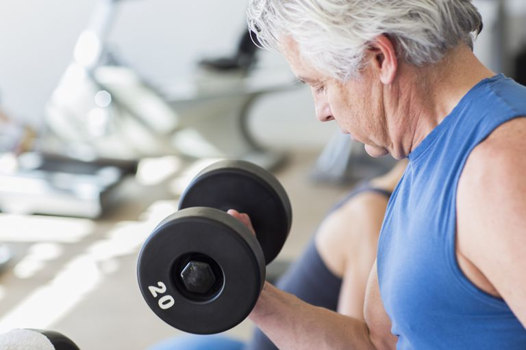 senior man weight lifting