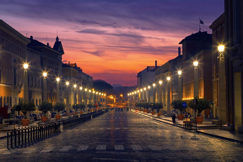 Road of the Conciliation in Rome at dusk