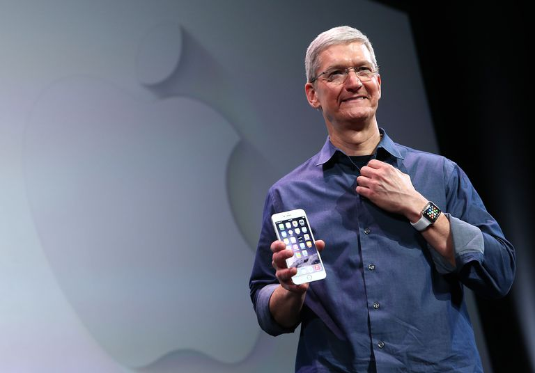 Tim Cook shows off the new iPhone 6 and the Apple Watch during an Apple special event
