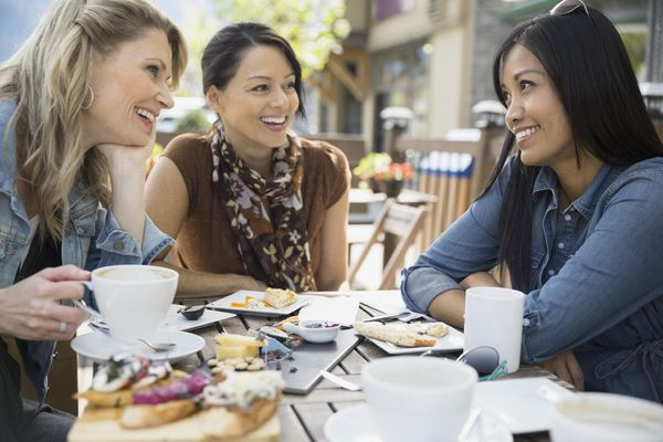 A picture of women talking
