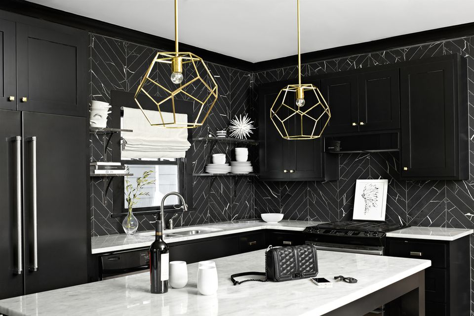 black tile kitchen