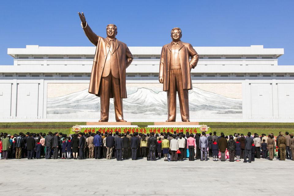 Mansudae Grand Monument, statues of former Presidents Kim Il Sung and Kim Jong Il