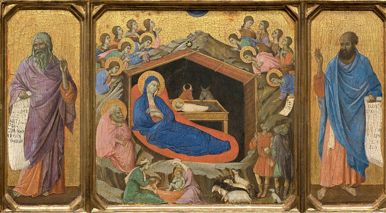 Nativity with the Prophets Isaiah and Ezekiel by Duccio di Buoninsegna