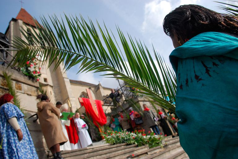 Palm branches on Palm Sunday