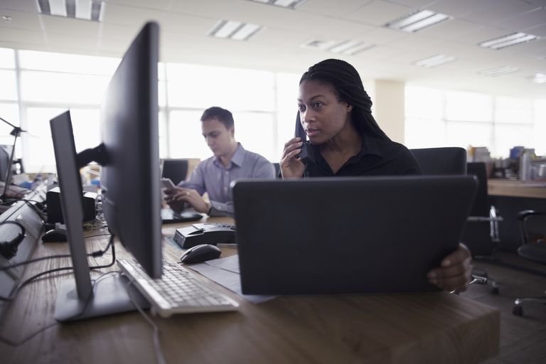 women providing on phone support