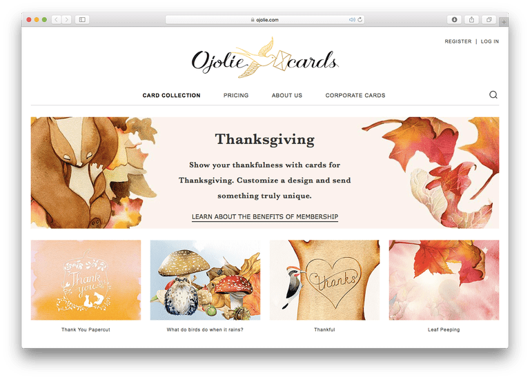 Ojolie Thanksgiving Cards