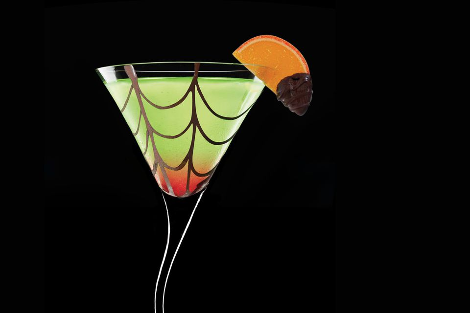 Spider's Kiss Cocktail with Midori Melon Liqueur - Halloween Cocktails