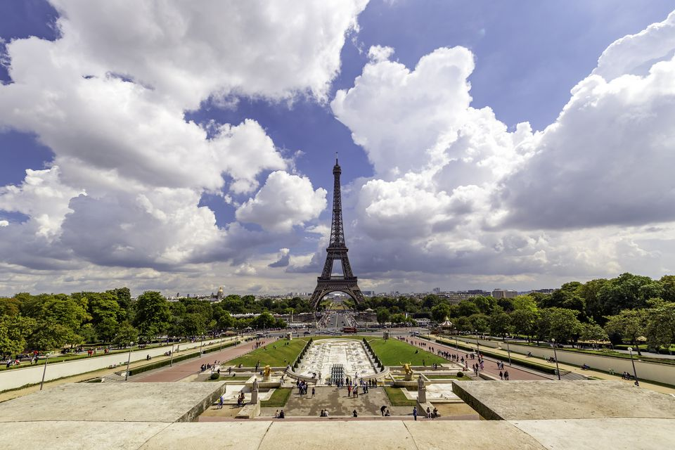 The Champs de Mars in Paris, with the Eiffel Tower in the distance.