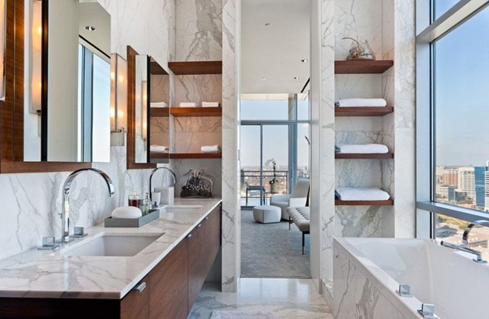 small warm marble bathroom - Bathroom Ideas Marble