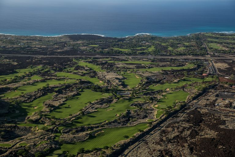 Aerial view of a golf course in Hawaii