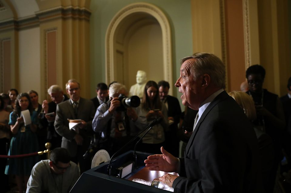 Senate Democrats address the media after their weekly policy luncheon