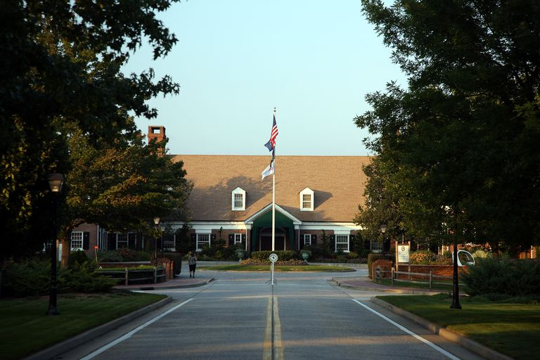 Driving up to the clubhouse at Bethpage State Park's golf facilities.