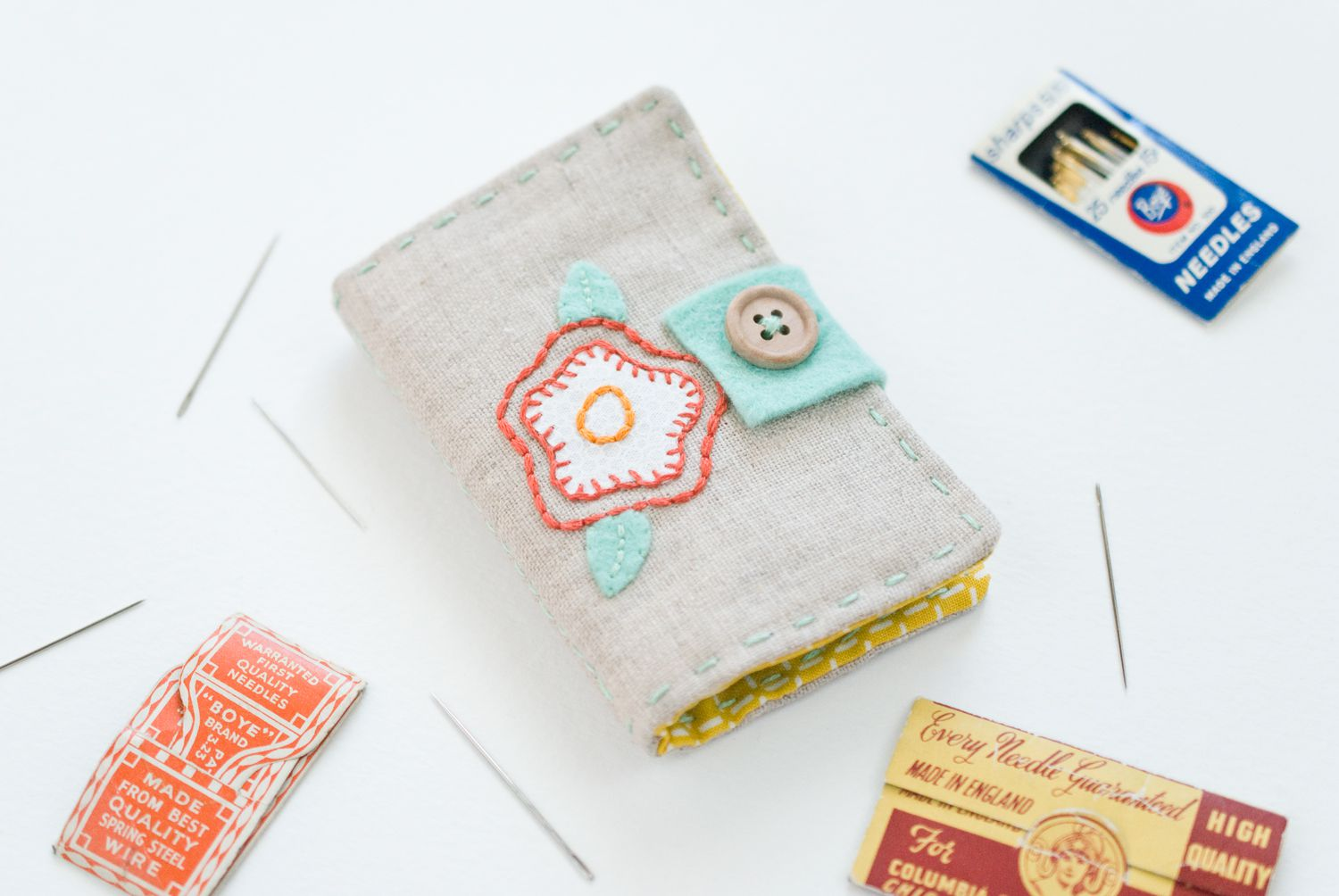 Diy embroidered needle book