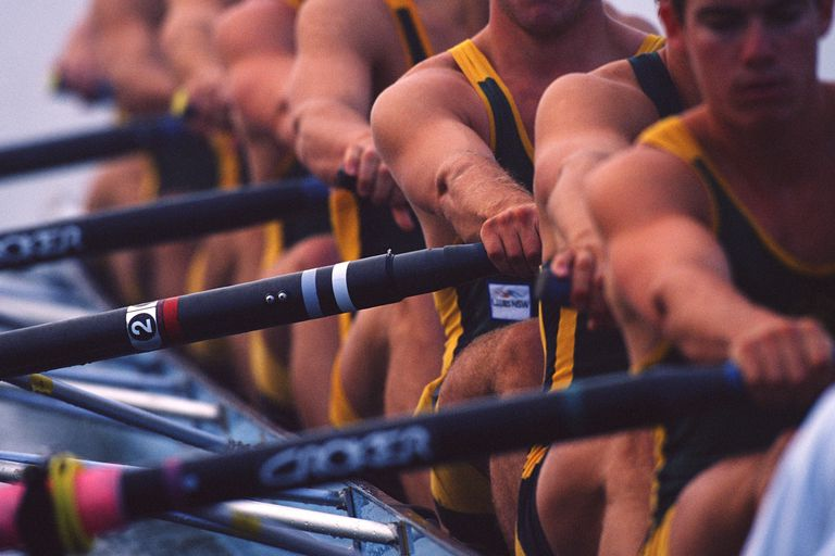 A rowing team in action.