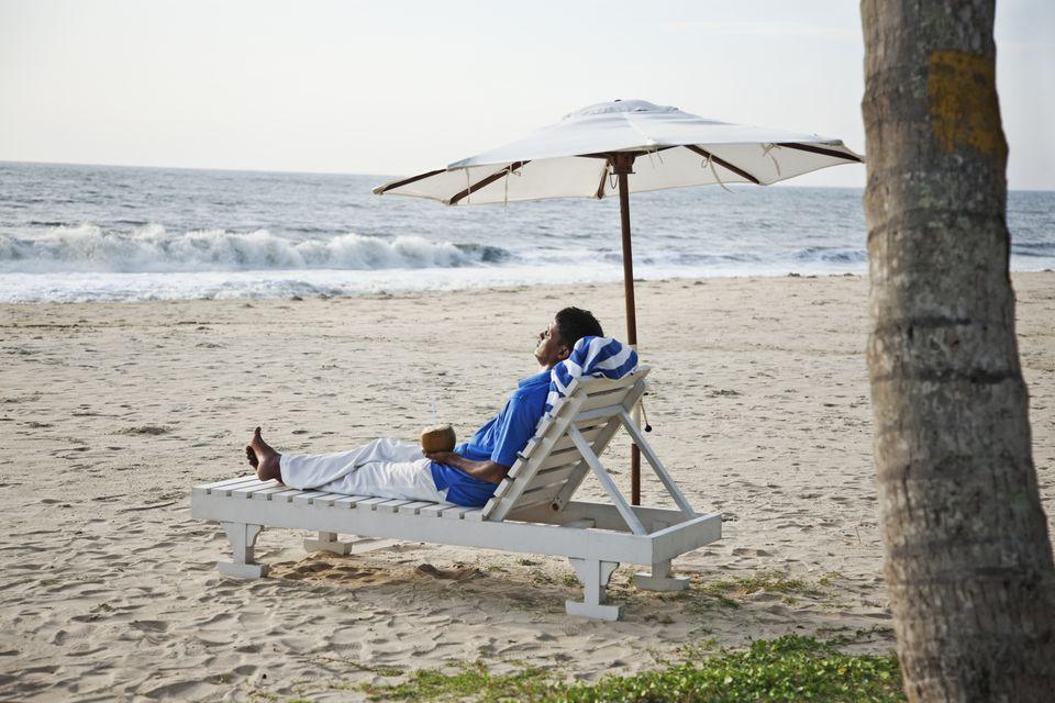 Relaxing on Marari beach, Kerala.