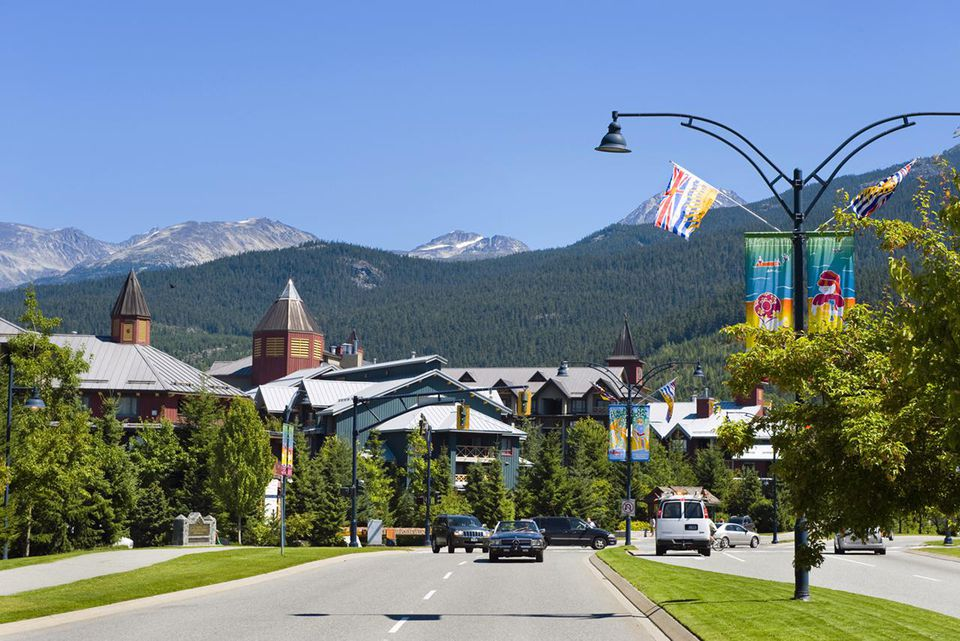 entrance to Whistler Village, from main Highway 99, Whistler Village, shopping and accommodations for surrounding mountain slopes