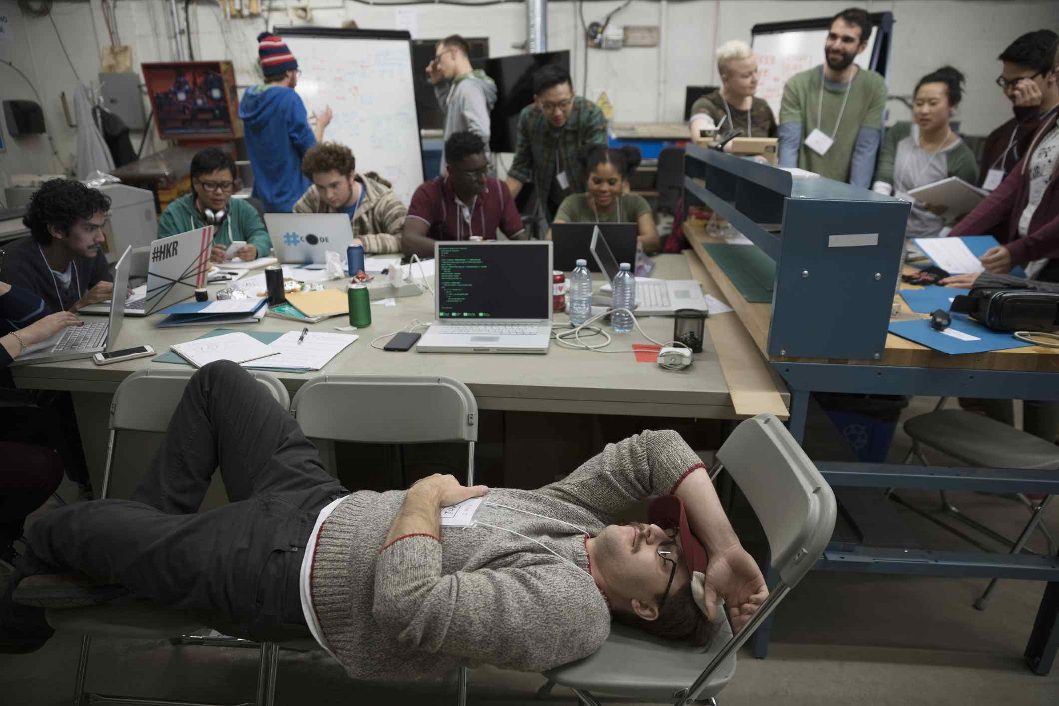 A community of hackers at a hackathon.