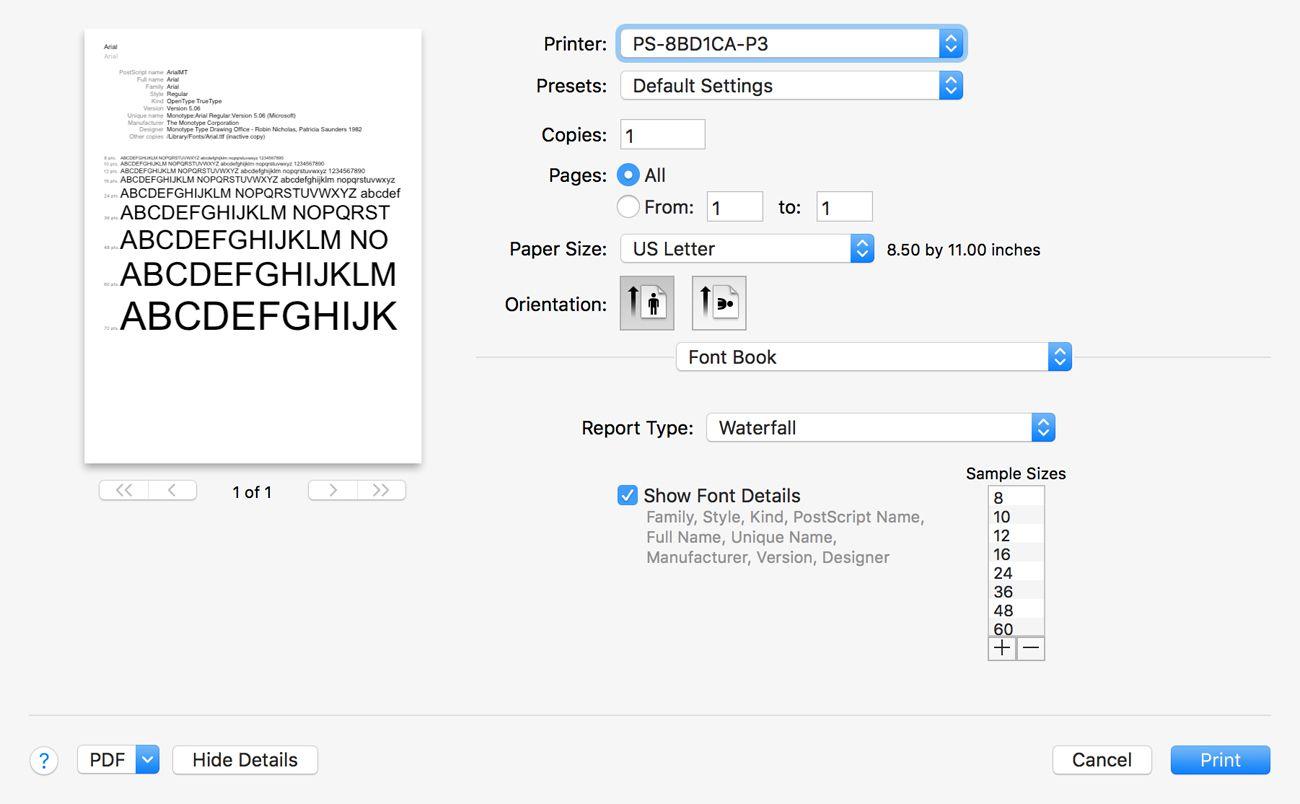Font Book's print dialog box.