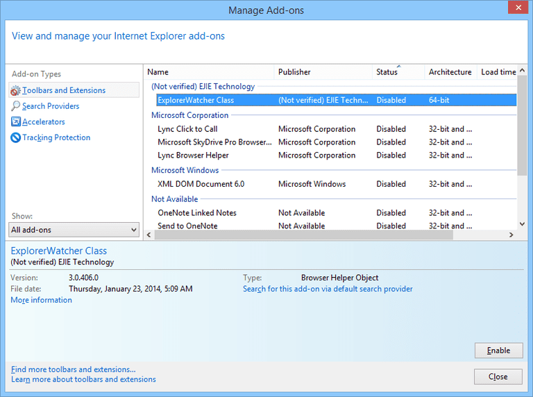 Screenshot of the Internet Explorer 11 Manage Add-ons Window