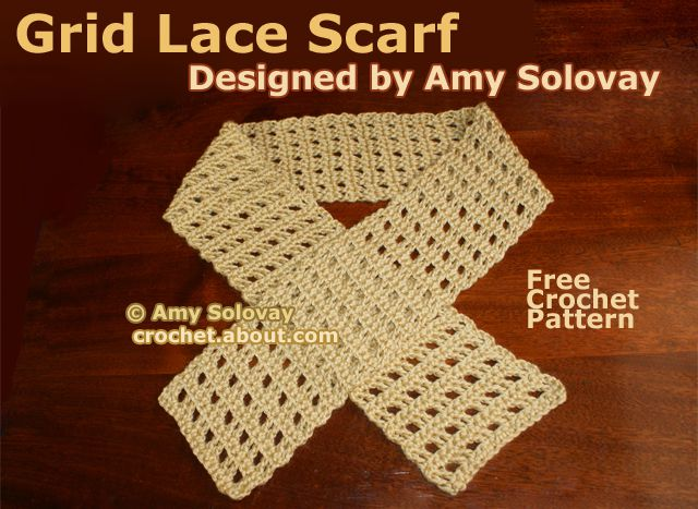 Easy Grid Lace Crochet Scarf Pattern