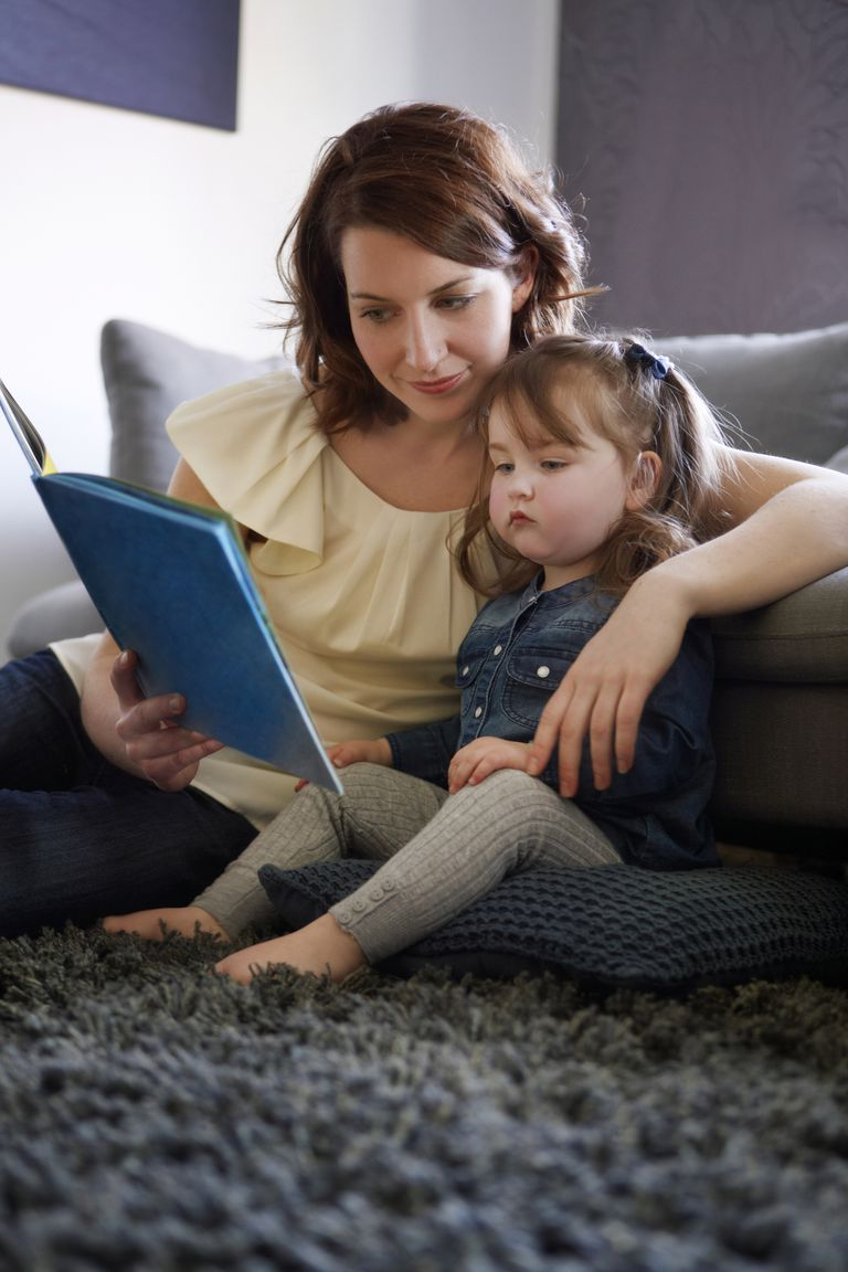 Mother reading book to toddler