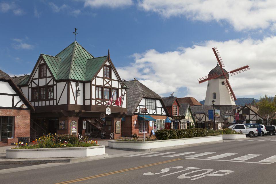 Street scene of Solvang, California, USA