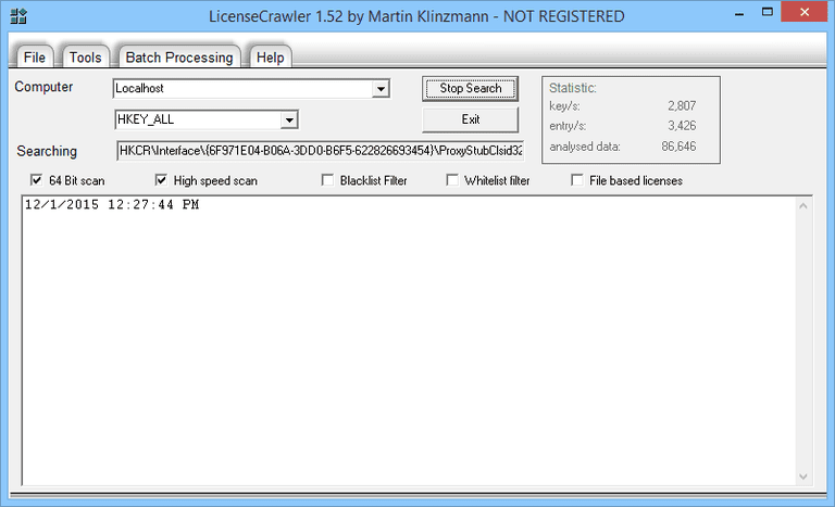Screenshot of LicenseCrawler v1.52 in Windows 8