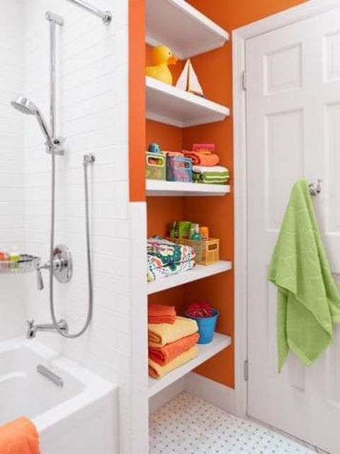Orange Bathroom With Open Shelving