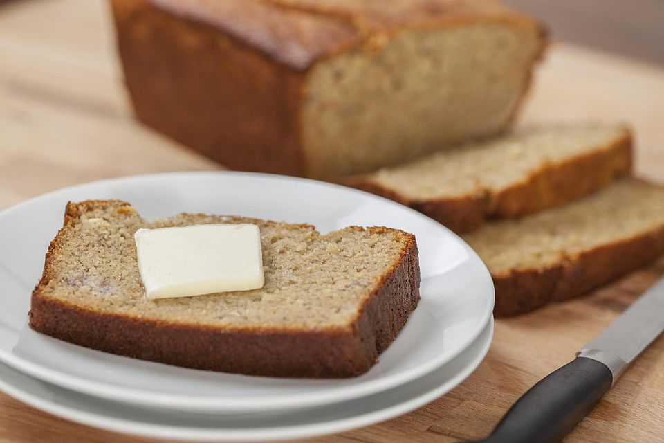 Fresh baked banana bread with butter