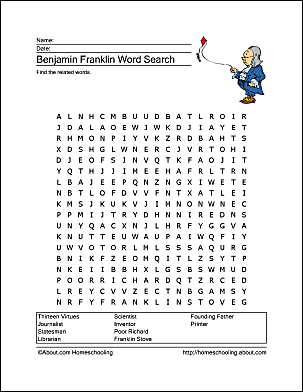 Benjamin Franklin Word Search and Crossword Puzzle
