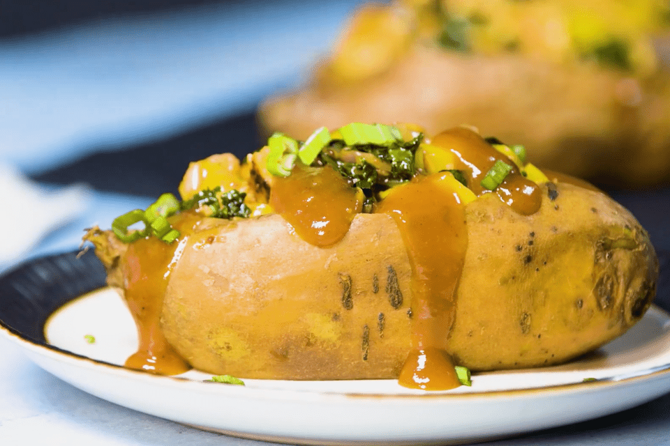 bbq chicken and kale stuffed sweet potatoes