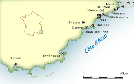 cote d'azure map, french riviera map