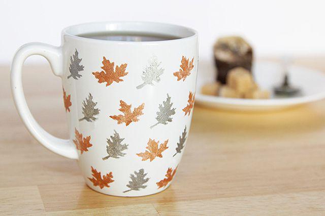 DIY Stenciled Leaf Mug