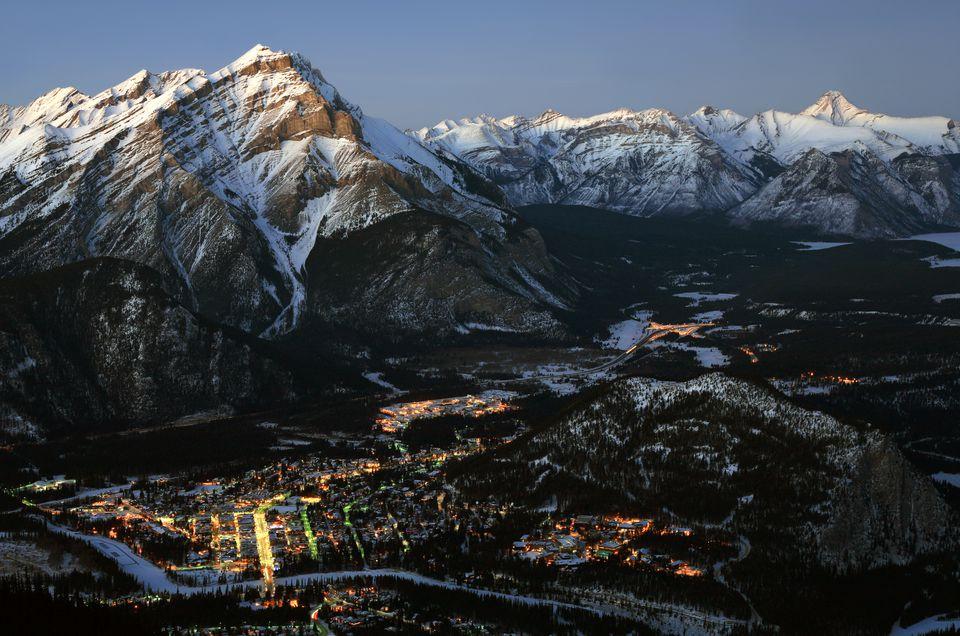 Aerial View of Banff, Alberta, Canada in Winter
