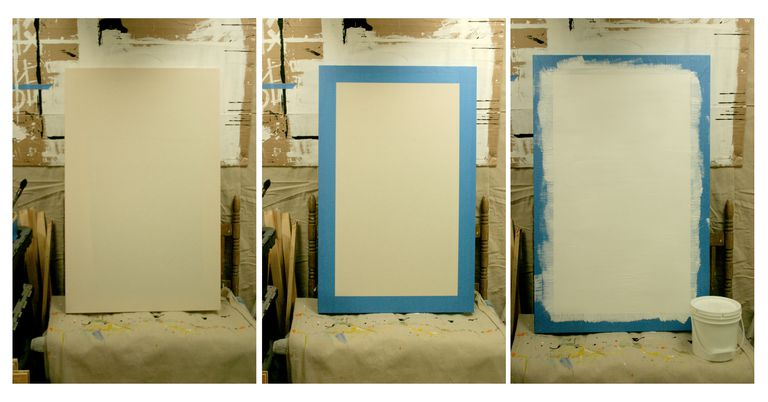 Three photos of a canvas being prepared for primer.