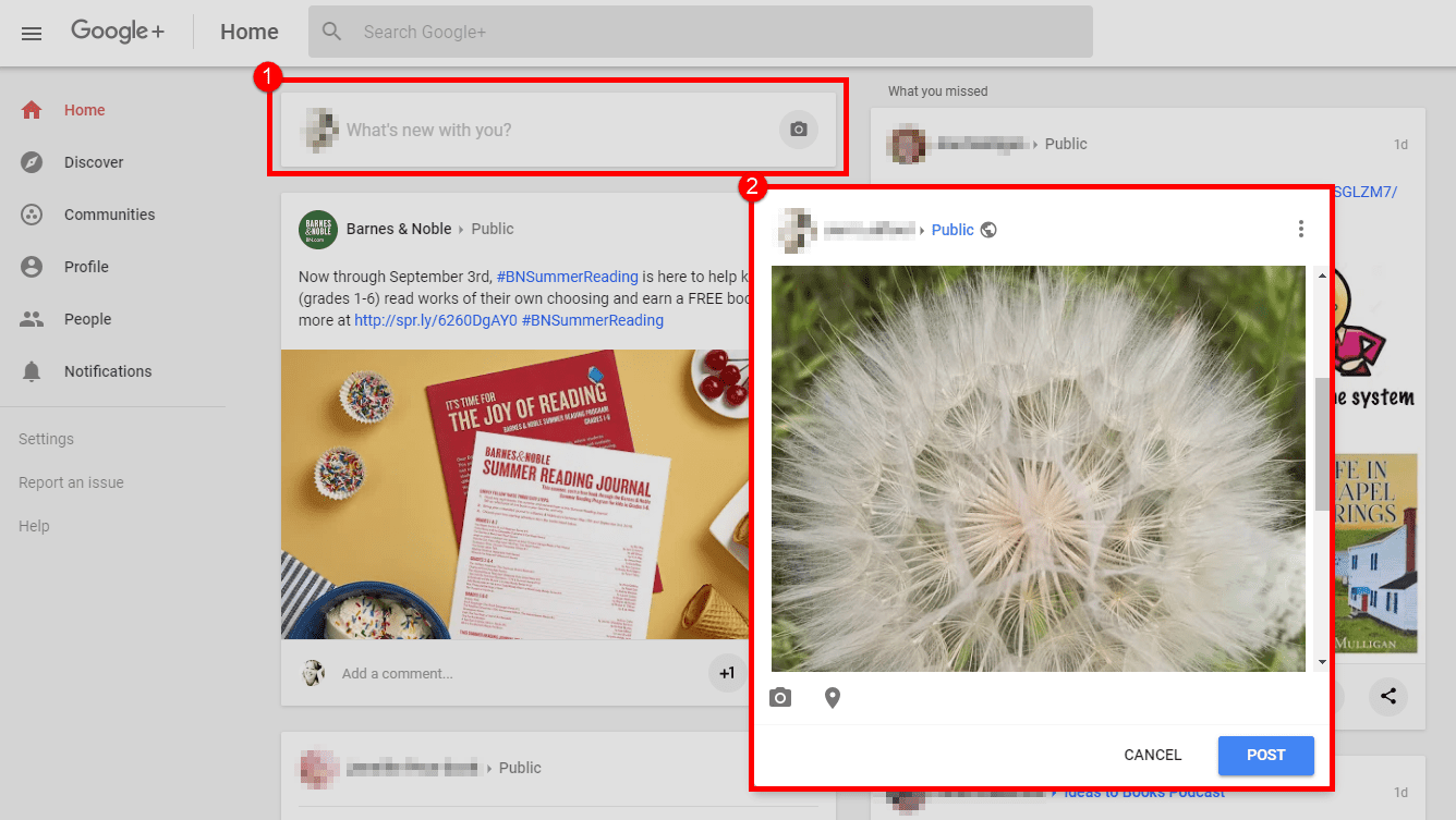 A screenshot illustrating how to share a post on Google+.