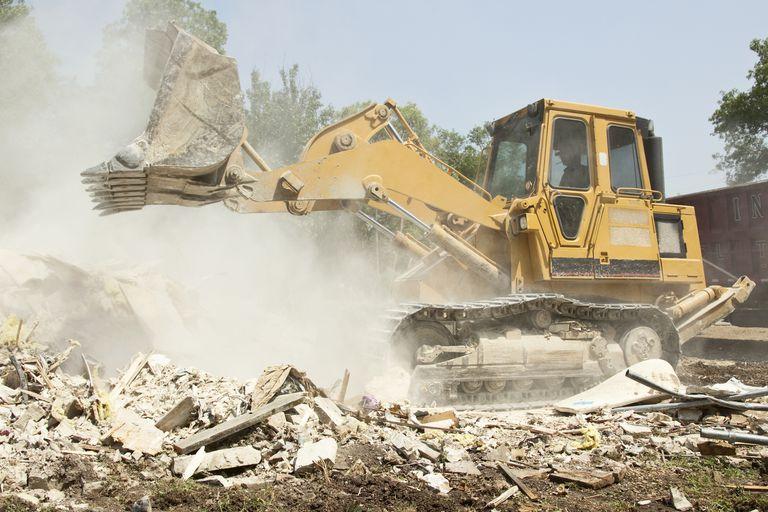 bulldozer removing debris