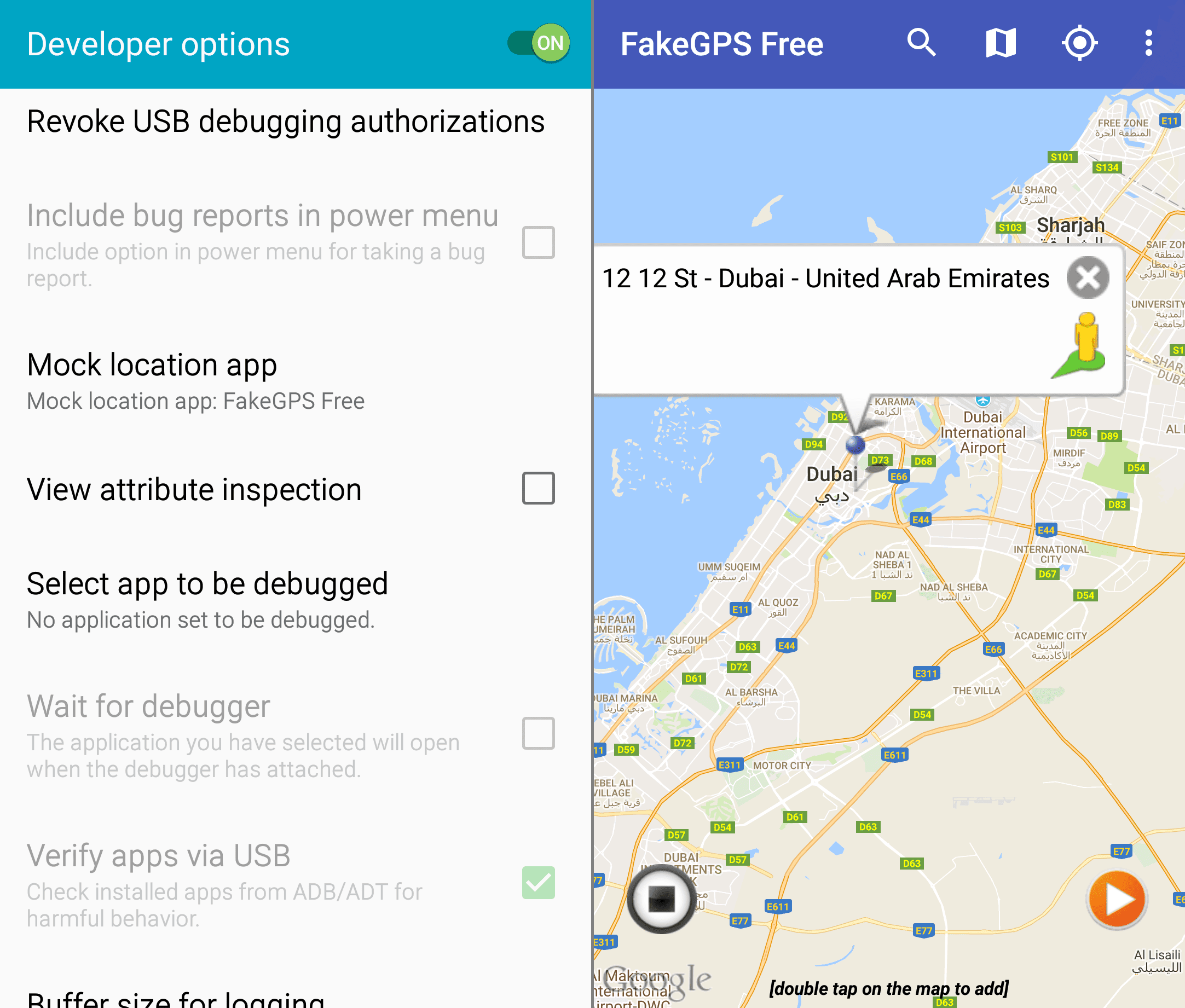 Screenshots of the FakeGPS Free Android app