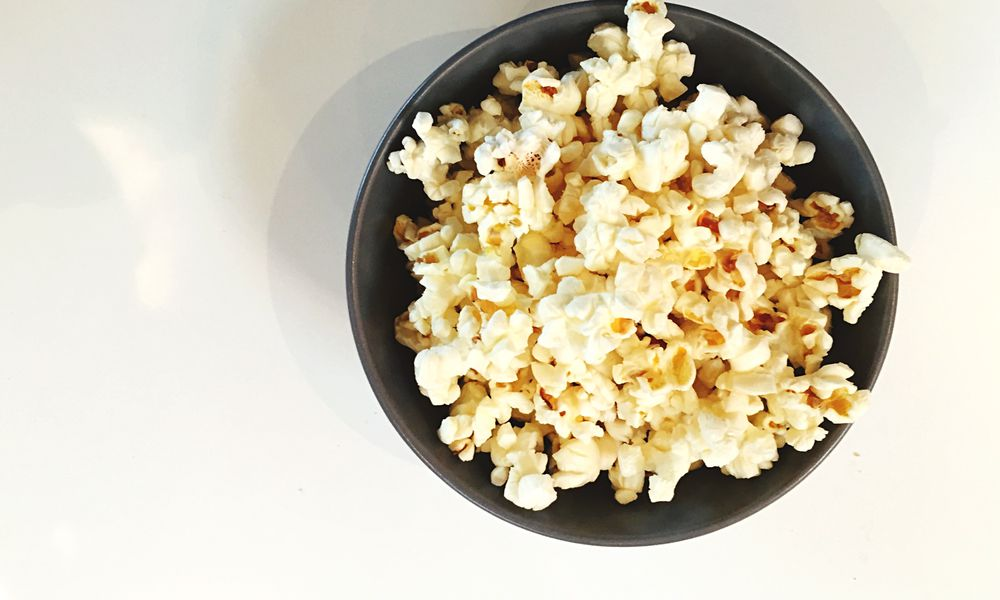Popcorn in a bowl.