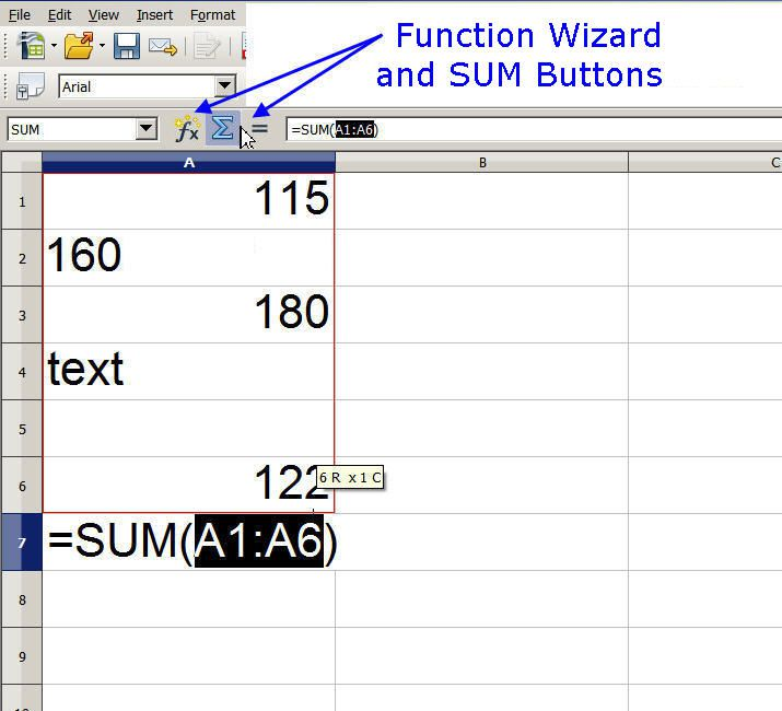 Summing Data Using the SUM Button in Open Office Calc