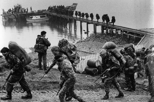 British troops during the Falklands War