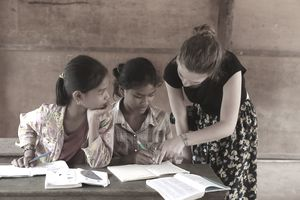 English teacher and students in rural Cambodia