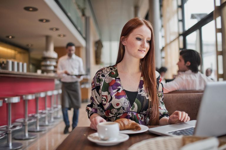 Businesswoman having breakfast in cafe